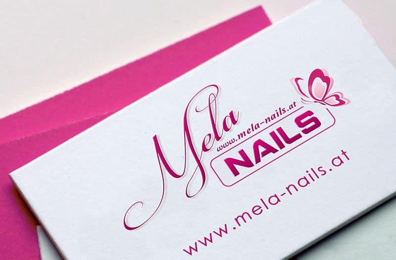 Visitenkarten gestaltung von Werbeagentur Fehring pr-pro für Mela-Nails Gleisdorf